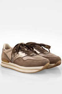 Hogan H222 Beige Suede Sneakers with Gold Leather Details / Size: 39 - Fit: True to size