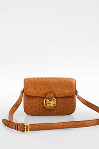 Céline Tan Vintage Ostrich Leather Shoulder Bag