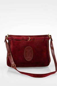 Les Must De Cartier Vintage Burgundy Suede Shoulder Bag