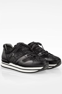 Hogan H222 Black Leather Sneakers with Glitter / Size: 40 - Fit: True to size