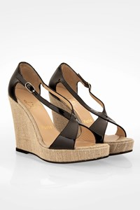 Christian Louboutin Black Patent Leather Espadrille Sandals / Size: 36.5 - Fit: True to size