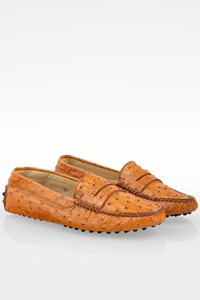Tod's Tan Ostrich Leather Loafers / Size: 37 - Fit: True to size