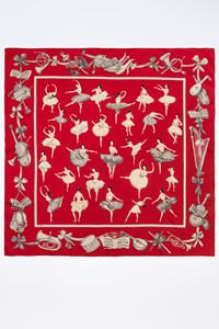 Hermès Red Silk Scarf with Ballerinas and Musical Instruments Print