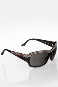 Chanel Black Acetate Sunglasses with Rhinestone Crystals and Logo