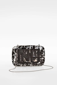 Fendi Black Mother-of-Pearl Clutch with Python Skin Details