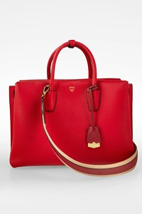 MCM Red Milla Large Leather Tote Bag