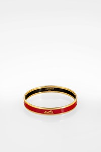 Hermès Red Enamel Caleche Gold Plated Bangle