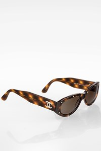 Chanel 06918 Brown Tortoise Shell Acetate Sunglasses with Studs