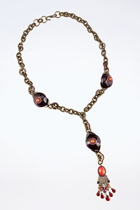 Lanvin Gold Tone Brass Chain Necklace Embellished with Crystals