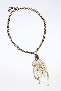 Lanvin Gold Tone Brass Chain Necklace Embellished with Crystals and Pearls