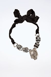 Lanvin Silver Tone Tie-Up Necklace with Ribbon and Crystals