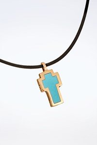Very Gavello Gold 9K Tattoo Necklace with Light Blue Essenza and Cord