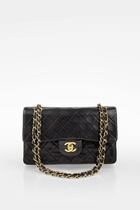Chanel Vintage Black Quilted Lambskin Leather Small Classic Double Flap Bag
