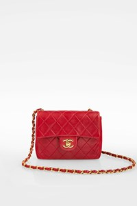 Chanel Red Quilted Lambskin Leather Mini Classic Flap Bag