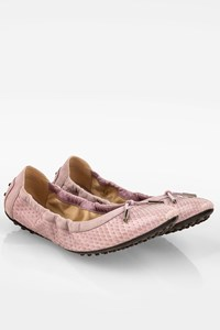 Tod's Lilac Snakeskin Leather Ballerina Flats / Size: 41 - Fit: True to size