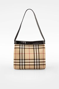 Burberry Beige Nova Check Print Canvas and Leather Tote Bag