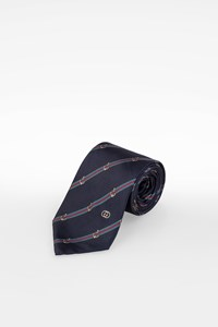 Gucci Blue Silk Tie with Anchors