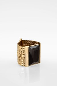 Etro Gold Tone Wide Cuff Bracelet with Black Crystal