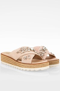 Sebastian Nude Suede Flatforms with Crystals / Size: 40 - Fit: True to size