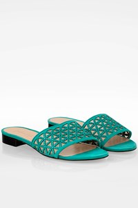 Fragiacomo Turquoise Suede Flat Sandals with Strass / Size: 40 - Fit: True to size
