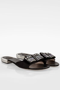 Rodo Black Satin Flat Sandals with Crystals / Size: 40 - Fit: True to size