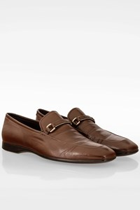Prada Brown Leather Loafers with Buckle / Size: 7 ½ (41.5) - Fit: True to size