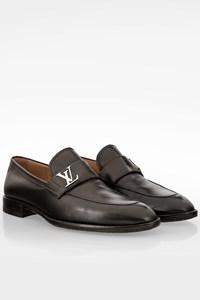 Louis Vuitton Black Saint Germain Leather Loafers with Logo / Size: 8M (42) - Fit: True to size
