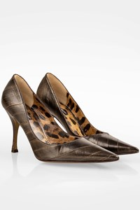 Dolce & Gabbana Bronze Leather Pointed Pumps / Size: 39.5 - Fit: 39