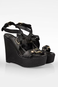 Mac Collection by Makris Black Leather Platforms with Raffia / Size: 40 - Fit: True to size