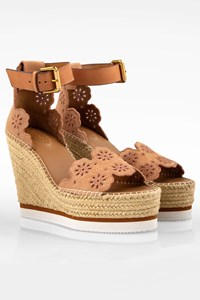 See by Chloé Nude Glyn Suede Espadrille Platforms / Size: 41 - Fit: True to size