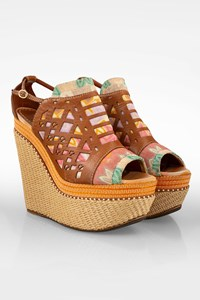 Missoni Multicoloured Canvas and Leather Platforms / Size: 40 - Fit: True to size