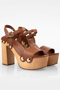 Prada Tan Leather Wooden Heeled Sandals / Size: 41 - Fit: True to size
