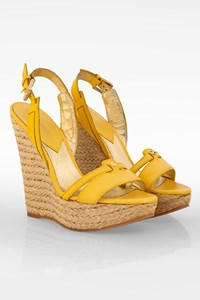 Dsquared2 Yellow Leather Espadrilles with Raffia Platforms / Size: 40 - Fit: True to size