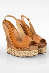 Dolce & Gabbana Tan Leather Peep Toe Raffia and Wooden Platforms / Size: 41 - Fit: 40