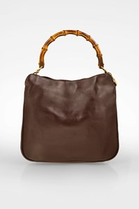 Gucci Brown Leather Bamboo Shoulder Bag