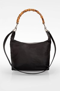 Gucci Black Nylon Bamboo Shoulder Bag with Removable Strap