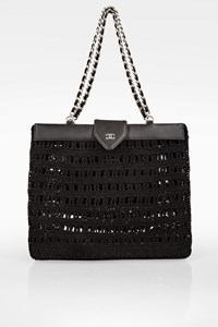 Chanel Black Crochet Tote Bag with Chain