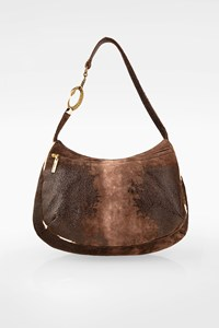 Roberto Cavalli Brown Leather Shoulder Bag with Pony Hair