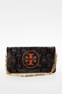 Tory Burch Black Textured Patent Leather Classic Chain Clutch