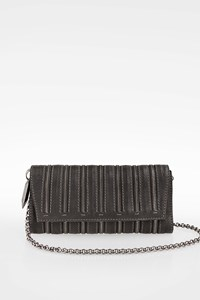 Donna Karan Anthracite New York Leather Chain Clutch with Decorative Zippers