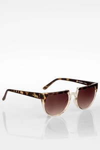 Henry Holland for Le Specs Transparent Flat Top Acetate Sunglasses with Brown Tortoise Shell Details