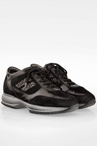 Hogan Black Interactive Suede and Patent Leather Sneakers / Size: 39 - Fit: 40