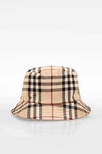Burberry London Reversible Icon Check Printed-Beige Bucket Hat