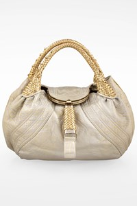 Fendi Silver-Gold Holographic Leather Spy Tote Bag