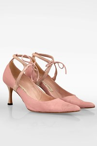 Manolo Blahnik Pink D'Orsay Ankle Strap Canvas Pumps / Size: 36 - Fit: True to size