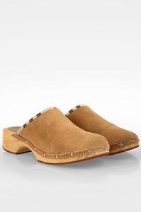 Burberry Beige Suede Wooden Clogs / Size: 39 - Fit: 40