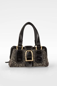 Céline Black and White Tweed and Leather Tote Bag