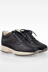 Hogan Dark Blue Leather Interactive Sneakers / Size: 39 - Fit: 40