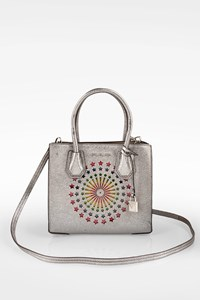 MICHAEL Michael Kors Silver Mercer Modern Disco Small Leather Tote Bag with Electroluminescent Panel