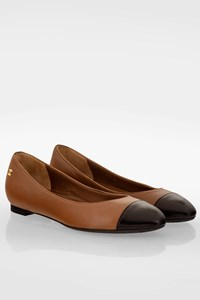 Chanel Black - Tan Leather Ballerina Flats / Size: 36.5 - Fit: True to size